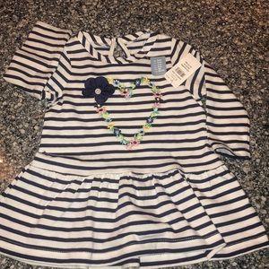 Girls blue/white stripe dress NWT 3-6 months Gap